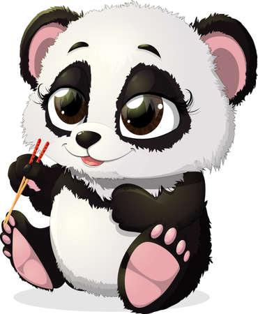 childishness: anda keeps foot sticks for sushi on a white background Illustration