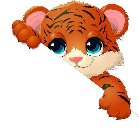 animaux zoo: beau tigre celle qui donne sur la feuille
