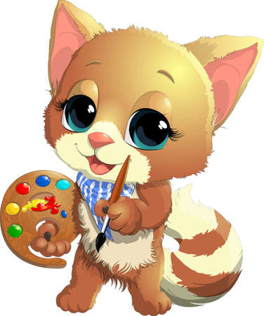 curious: beautiful and cute kitten artist with a tablet and paint on a white background