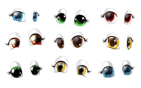 beautiful eyes: many beautiful pairs of eyes on a white background
