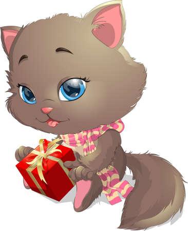 tiras comicas: gatito que sostiene un regalo en un fondo blanco Vectores