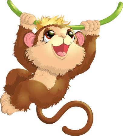hangs: beautiful monkey that hangs on a tree