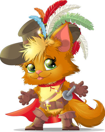 beautiful cat in the boots of the fairy tale Illustration