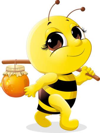 Ape bello che porta un vaso di miele su un bastone Archivio Fotografico - 46112861
