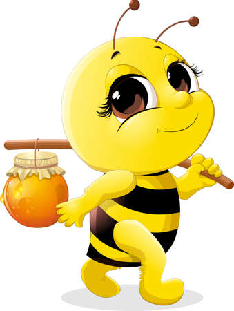 carries: beautiful bee which carries a pot of honey on a stick