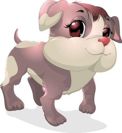 talismán: hermoso cachorro glamorosa pintado sobre un fondo blanco