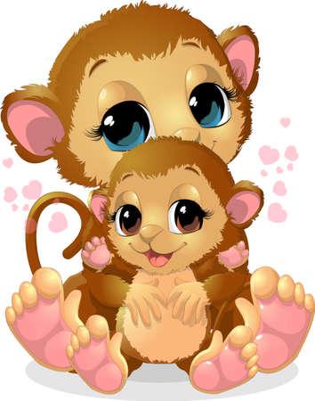 platano caricatura: hermosa mono que sostiene a su beb� en sus brazos