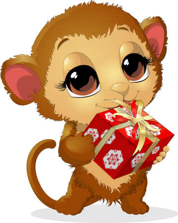 holds: beautiful monkey, which holds in paws a delicious box