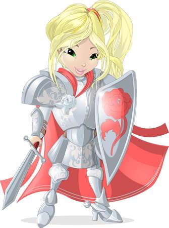 swordsman: girl from fairy tale knight in shining armor