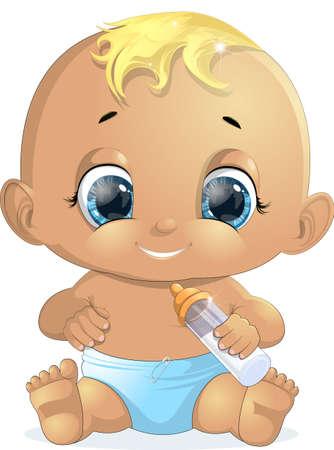 bebes recien nacidos: pequeño bebé con una botella pintada en un fondo blanco