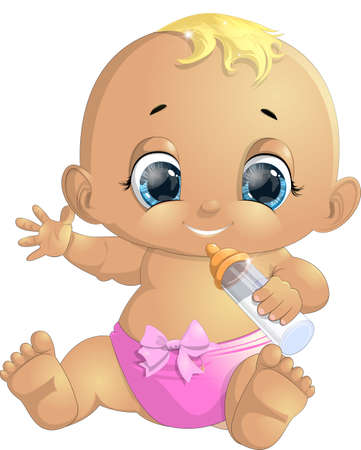 thinking bubble: small baby with a bottle painted on a white background
