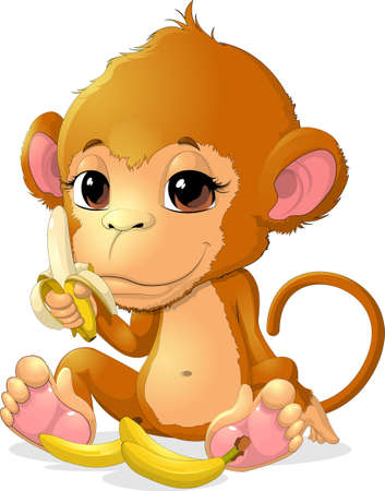 holds: beautiful monkey that holds the legs  bananas