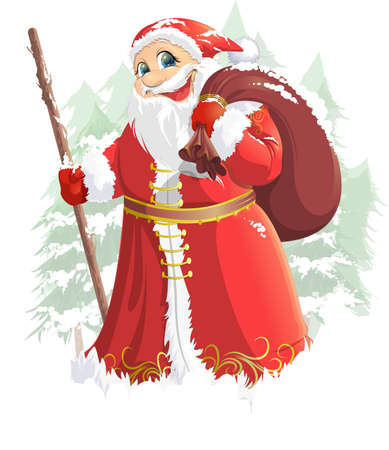 grandfather frost: Grandfather Frost painted on a white background with a bag of gifts