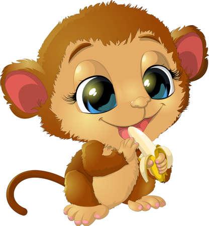 platano caricatura: hermosa mono que sostiene las bananas piernas Vectores
