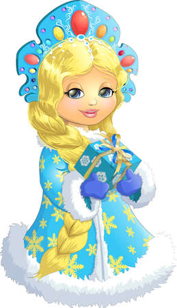 Beautiful Snow Maiden on a white background with a box of gifts in their hands Illustration