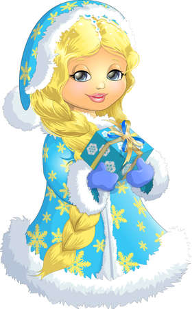 pretty blonde girl: Beautiful Snow Maiden on a white background with a box of gifts in their hands Illustration