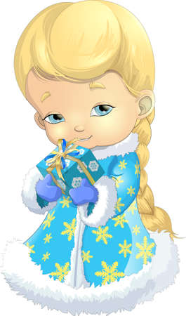 Beautiful Snow Maiden on a white background with a box of gifts in their hands