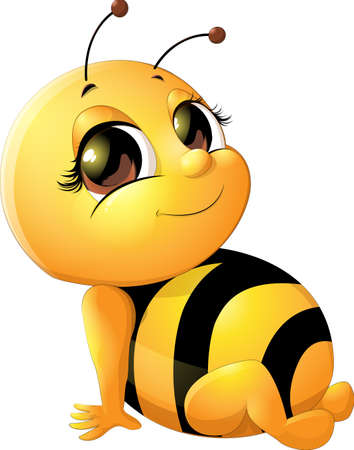 cute bee: beautiful bee which drawing on white background Illustration