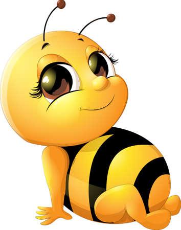 mooie bee die tekening op een witte achtergrond Vector Illustratie