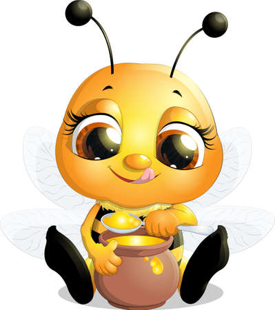 antennae: beautiful bee which narisovana on white background Illustration