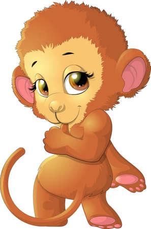 Affe sitzt auf einem weißen Hintergrund, die vor uns aussieht Vektorgrafik