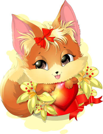 cuddly: beautiful fox among the flowers on a white background