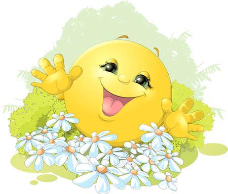 陽気なお団子は花の背景に満足しています。  イラスト・ベクター素材