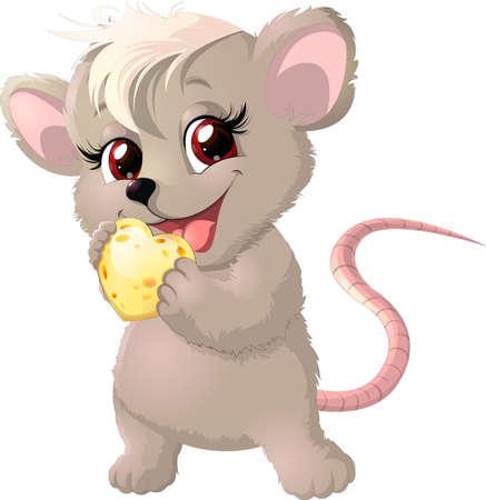 白い背景の上にチーズを保持しているかわいいマウス