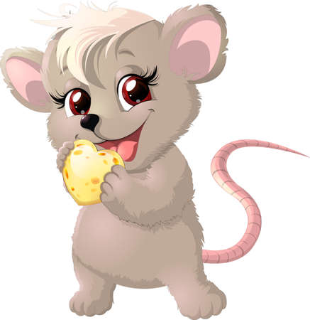 Cute mouse holding cheese on white background Illustration