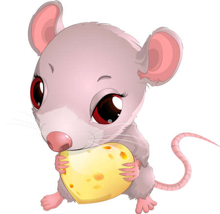 hunk: Cute mouse holding cheese on white background Illustration