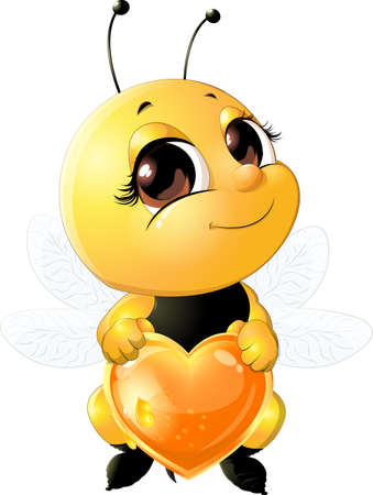 Bee holding a heart made of honey on a white background