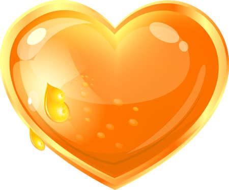 honey: beautiful heart of honey on a white background