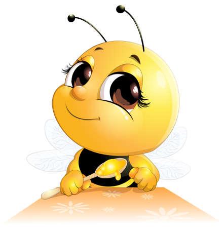 Pszczoła siedzi przy stole z łyżką na białym tle