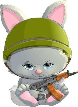 assault rifle: beautiful bunny with a assault rifle on a white background Illustration