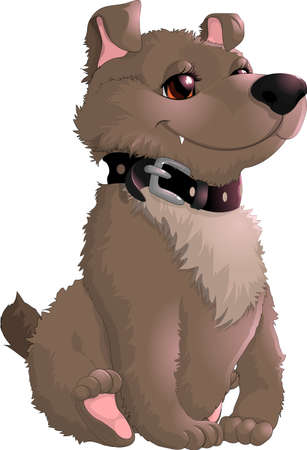 cute animal cartoon: beautiful gray dog painted on a white background