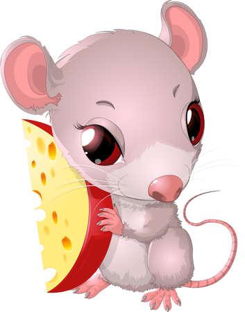 rata caricatura: Linda queso de retenci�n del rat�n sobre fondo blanco