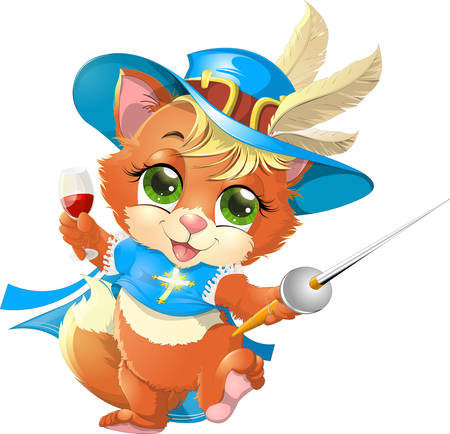 cartoon child: kitten musketeer with a sword and a glass of wine on a white background Illustration