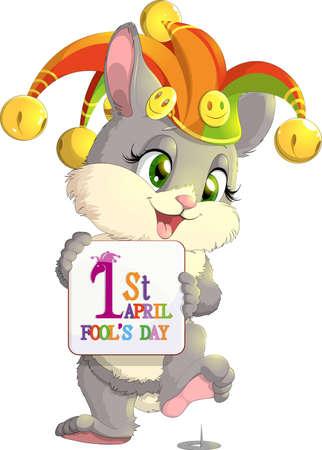 tonto: Conejo con un cartel para el primero de abril