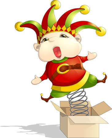 fool: Fool toy jumps out of the box Illustration