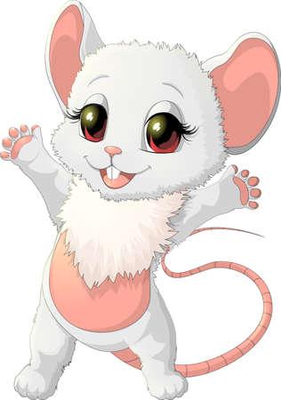 raton: hermoso pequeño ratón es feliz sobre un fondo blanco