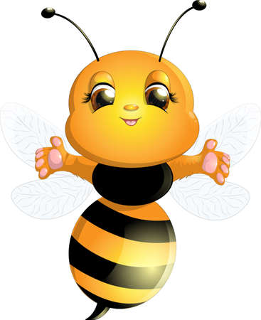 comic wasp: beautiful bee is happy on a white background Illustration