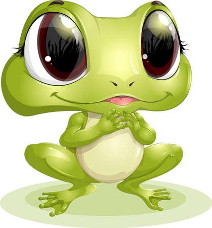bullfrog: frog with big eyes on a white background Illustration