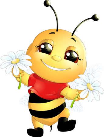 흰색 배경에 그려진 재미 꿀벌