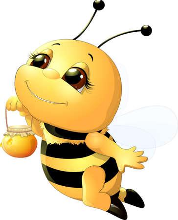 divertente ape dipinta su uno sfondo bianco