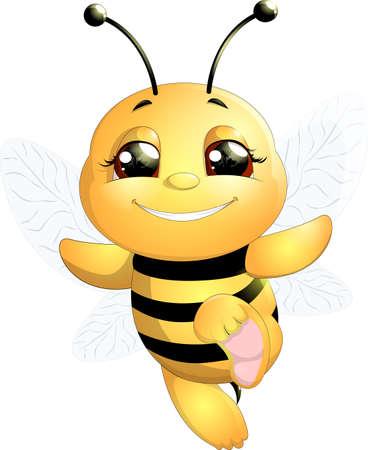 abeja reina: abeja divertida pintado sobre un fondo blanco