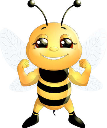 comic wasp: funny bee painted on a white background