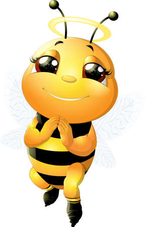 funny bee painted on a white background