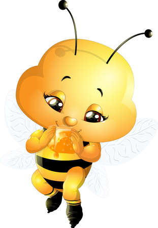 antennae: funny bee painted on a white background
