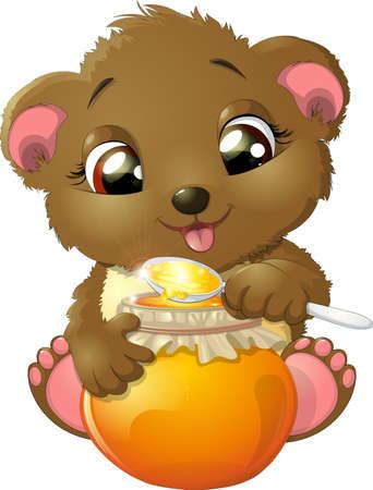 eats: Bear eats a big spoon of honey on white background