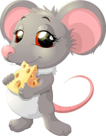 cute mouse: Cute mouse holding cheese on white background Illustration